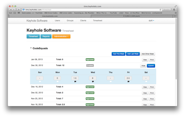 Create and Edit Timesheets